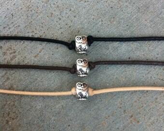 Owl Bracelet, Owl Charm Bracelet, Friendship Bracelet, Cotton Cord, Boho Bohemian Jewelry, Yoga, Hippie Jewelry