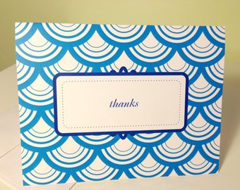 Thank You greeting card, scallops and fancy frame, set of 5