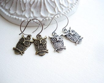 Owl Earrings In Antiqued Brass Or Antique Silver, Owl Jewelry, Woodland, Bird, Gift For Her Under 25