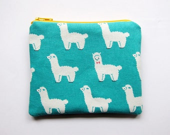 Zipper Pouch - Llamas on Turquoise - Available in Small / Large / Long