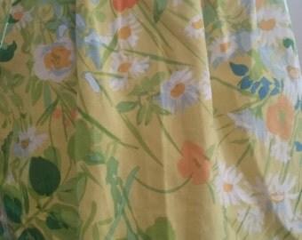 Vintage Yellow Half Apron Kitchen Baking Cotton Accessory Lime Green Orange White Tie Back