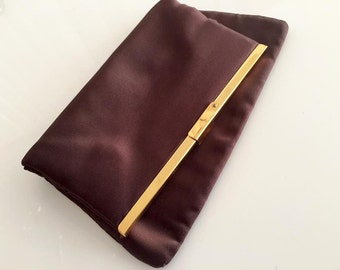 Vintage 1950's Fold Over Clutch Purse in Sateen -- Chocolate Brown