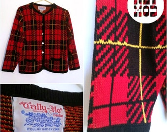 Vintage Red, Black and Yellow Plaid 60s Sweater Cardigan - Preppy and Cute!