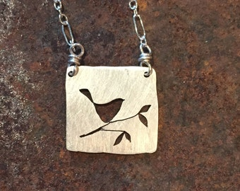mini bird on branch necklace