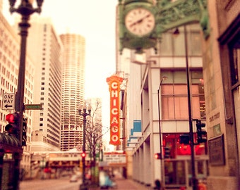 Chicago Theater   Marshall Fields Clock   State Street    wall art print   Chicago photography   red teal   marina towers art   Art for Wall
