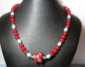 Red, Light and Blue  Artbead Necklace (6/26/2016)
