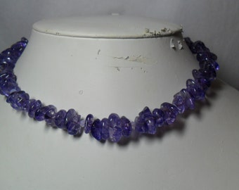 Like Concord Grape Bunches - Amethyst Necklace w/Clear Crystals       (8/26/2016)