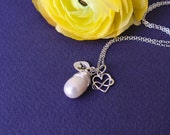 PEARL NECKLACE with inital charm, personalized jewelry, Bridal jewelry, freshwater pearl solitaire, gold heart necklace, Bridesmaid Gift