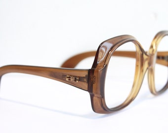Vintage 1970s Eyeglasses // 70s 80s Frames // Two Tone Translucent  Brown Red Oversized // Marwitz