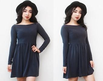 SALE Pirouette Blue-Grey Boat Neck Long Sleeve Babydoll Mini Dress L