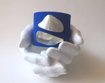 """leather cuff bracelet  - deep sapphire blue suede with mother of pearl - 2"""" wide"""