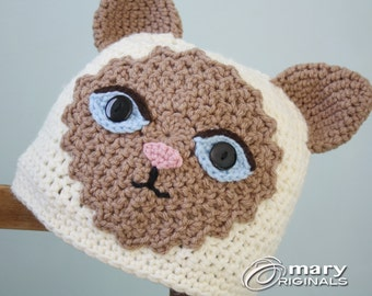 Cat Hat, Crochet Beanie, Kitty Hat, Men, Women, Boys, Girls, Children,Halloween Costume, Holiday Gift, Ragdoll, Himalayan, Siamese, Persian