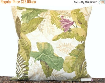 Christmas in July Sale Tropical Leaves Pillow Cover Cushion Green Beige Mustard Purple Floral Coastal Outdoor Indoor Decorative 18x18