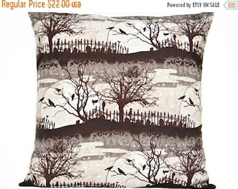Halloween Sale Halloween Pillow Cover Cushion Brown Crows Cats Cemetery Branches Moon Black Gray Beige Decorative 18x18