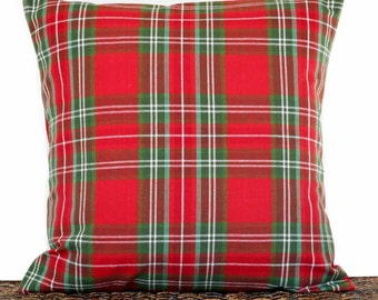 Tartan Plaid Pillow Cover Cushion Christmas Red Green White Decorative Repurposed 18x18