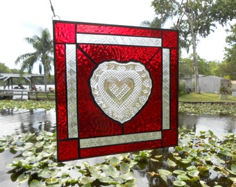 Stained Glass Panel, 1970s Fostoria Suncatcher, Recycled Avon Crystal Heart Soap Dish Window Valance, Antique Stained Glass Window Transom
