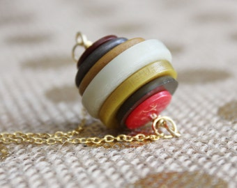 Recycled Button Necklace | Neutral, Red, & Mustard Yellow Button Stack Gold Necklace | Repurposed Vintage Button Jewelry