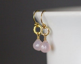 Pink Chalcedony Earrings - Pink Gemstone Earrings - Light Pink Earrings - Pink and Gold - Bridal Jewelry - Gold Wire Wrap - Gift for Her