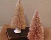 Sepia Bottle Brush Tree and White Porcelain Knob OOAK