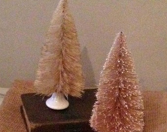 Sepia Bottle Brush Tree and White Porcelain Knob OOAK