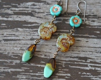Shell Earrings - Turquoise and Amber - Beach Earrings - Earthy Rustic Earrings - Shells and flowers Boho - Bead Soup Jewelry