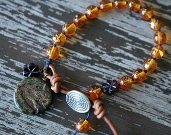 Knotted Amber and Garnet Bracelet - Relic - Earthy Bohemian Bracelet - Sparrow Bracelet - Bead Soup Jewelry