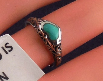Vintage Sterling Turquoise Filigree Ring Dainty Sz 5