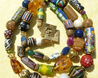 Extraordinary Antique Venetian Millefiori beads necklace with ruby, emerald, amber gemstone beads and Trade Beads RAINBOW COLORS