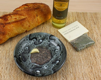 Garlic grater Plate  & herb mix- Oil dipping plate - Bread dipping plate - Appetizer plate - Plate - black and white design