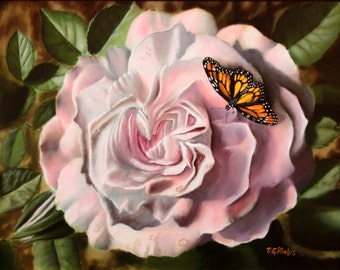 monarch butterfly painting, butterfly art, pink rose art, rose painting, pink blossom art, orange monarch, realism art, artwork for sale