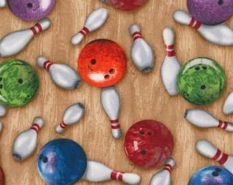 Robert Kaufman - Sports Life - Multi Bowling Novelty Fabric by the yard SRK15657205