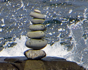 Awake - Photograph of a rock sculpture with waves splashing against it  - many options to choose from starting at 10.00
