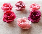 Tickled Pink - XLarge 3D Rolled Roses - 6 Die Cut Wool Blend Felt Flowers - Unassembled Rosettes