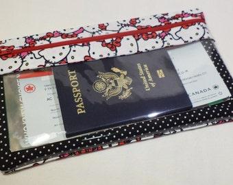 Travel Wallet - Long Travel Wallet - Passport Wallet - Travel Document Organizer - Clear View - Zippered Travel Wallet- Hello Kitty Kawaii