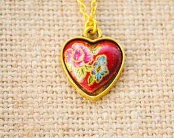 Vintage Red Floral Heart Cabochon Necklace - Cottage Chic, Valentine's Day