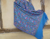 """RESERVED for MAA: Pretty  Embroidered Blue Pashmina. Luxurious warm wool shawl/stole. 74 x 28"""". Kashmir. 188 x 71 cm"""