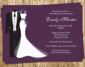 Wedding, Bridal Shower Invitations, Dress, Tux, Plum, White,  Couple, 10 Printed Invites, Envelopes, FREE Shipping, SAIDO, Say I Do Purple