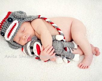 Sock Monkey Hat, Winter Hat, Red Monkey Hat, Baby Boy Hat, Monkey Earflap Hat, Newborn Hat Prop, Toddler Monkey Hat, Sock Monkey Beanie