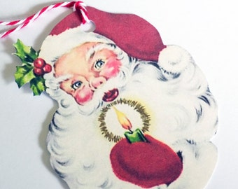 Santa With Candle - Christmas Tags - Set of 3 - Retro Santa - Gift Tags - 1950's Santa - Santa Cut Out - Xmas Tags - Retro Christmas
