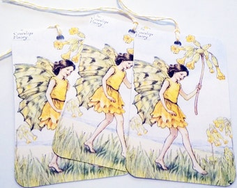 Cowslip Fairy Tags - Set of 3 - Flower Fairy - Gift Tags - Thank Yous - Garden Fairy - Vintage Fairy - Fantasy Tags  - Yellow Fairy Tags