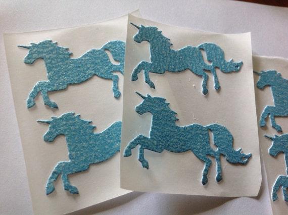 Light blue glitter Large Unicorn Stickers 15 pc