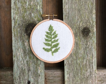 """3"""" Hoop with Embroidered  Fern"""