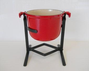 Vintage Le Creuset Red Cast Iron Enzo Mari Design Fondue Pot with Stand