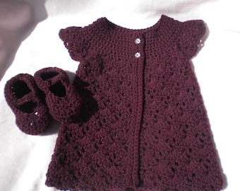 Crocheted Infant Girl Sweater MaryJanes Plum Baby Cashmerino Yarn 12 18 mo.