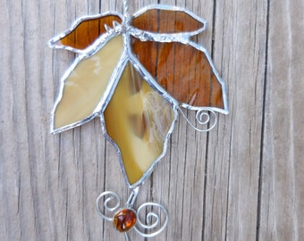 Stained Glass Maple Leaf - Handmade gifts - Amber - House Warming - Autumn Decor - Fathers Day - Birthday - Window Decor - Wedding Gift