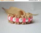 Clearance Sale Khaki and Neon Pink Twilly Stripe Ribbon Bracelet. Fashion Jewelry. Pearl Bracelet. Statement Jewlery. Bridesmaid Gift. Stock
