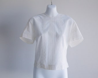 Short Sleeved, Embroidered Cotton Blouse - Sz L