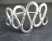 Sterling silver bangle, loopy snake bangle, hammered metal, silver bracelet, metalwork jewelry, bright silver, medium, bangle bracelet