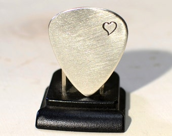 Sterling silver guitar pick brimming with love and a heart - solid 925 GP791