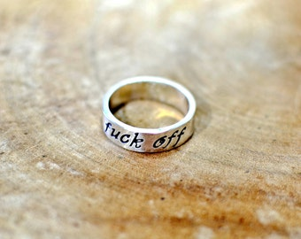 Elegant sterling silver fu'k off ring in solid 925 with fancy font for extra a classy statement